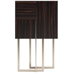 In Stock in Los Angeles, Deco, Makassar Ebony & Gold Veneer Bar / Cabinet