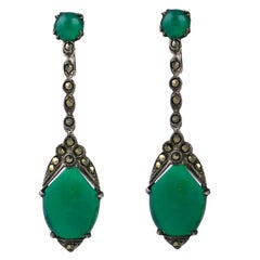 Deco Marcasite and Green Onyx Earrings