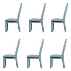 Deco Modern Aqua Blue Microfiber Upholstered High Back Dining Chairs
