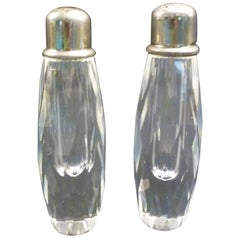 Deco Modern Cut Crystal Salt Shaker and Pepper Mill