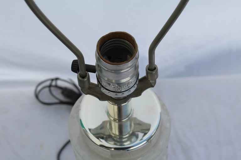Mid-Century Modern Deco /Modern Rock Crystal Lamp, Hi-Polished Nickel For Sale