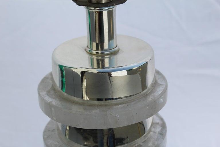 North American Deco /Modern Rock Crystal Lamp, Hi-Polished Nickel For Sale