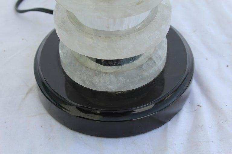 Deco /Modern Rock Crystal Lamp, Hi-Polished Nickel For Sale 1