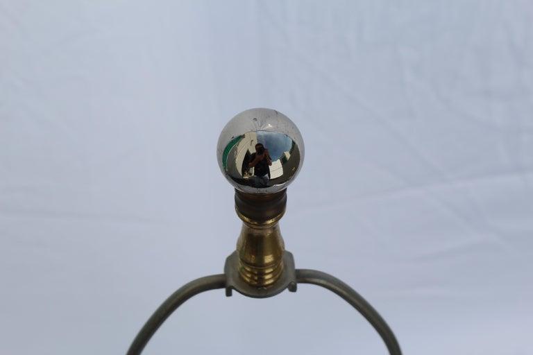 Deco /Modern Rock Crystal Lamp, Hi-Polished Nickel For Sale 2