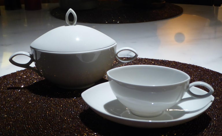 Mid-Century Modern Deco Modern Rosenthal Oval Pattern by Rudolf Lunghard Espresso Moka Coffee Set For Sale