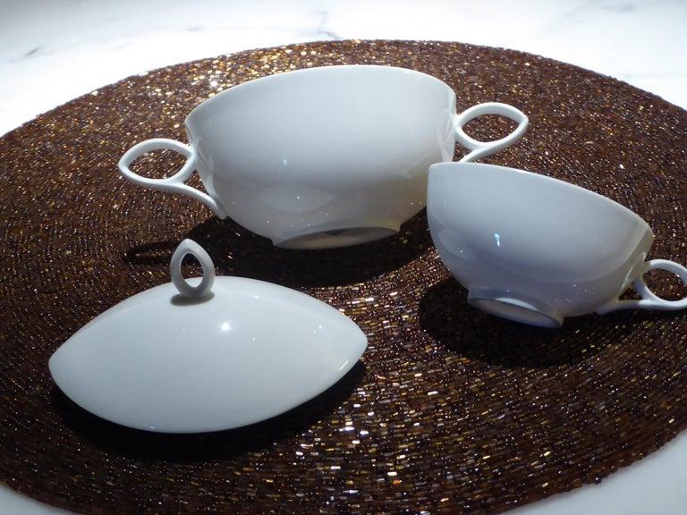 Porcelain Deco Modern Rosenthal Oval Pattern by Rudolf Lunghard Espresso Moka Coffee Set For Sale