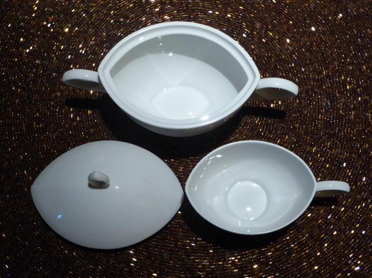 Deco Modern Rosenthal Oval Pattern by Rudolf Lunghard Espresso Moka Coffee Set For Sale 1