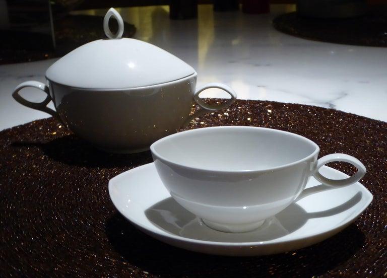 Deco Modern Rosenthal Oval Pattern by Rudolf Lunghard Espresso Moka Coffee Set For Sale 2