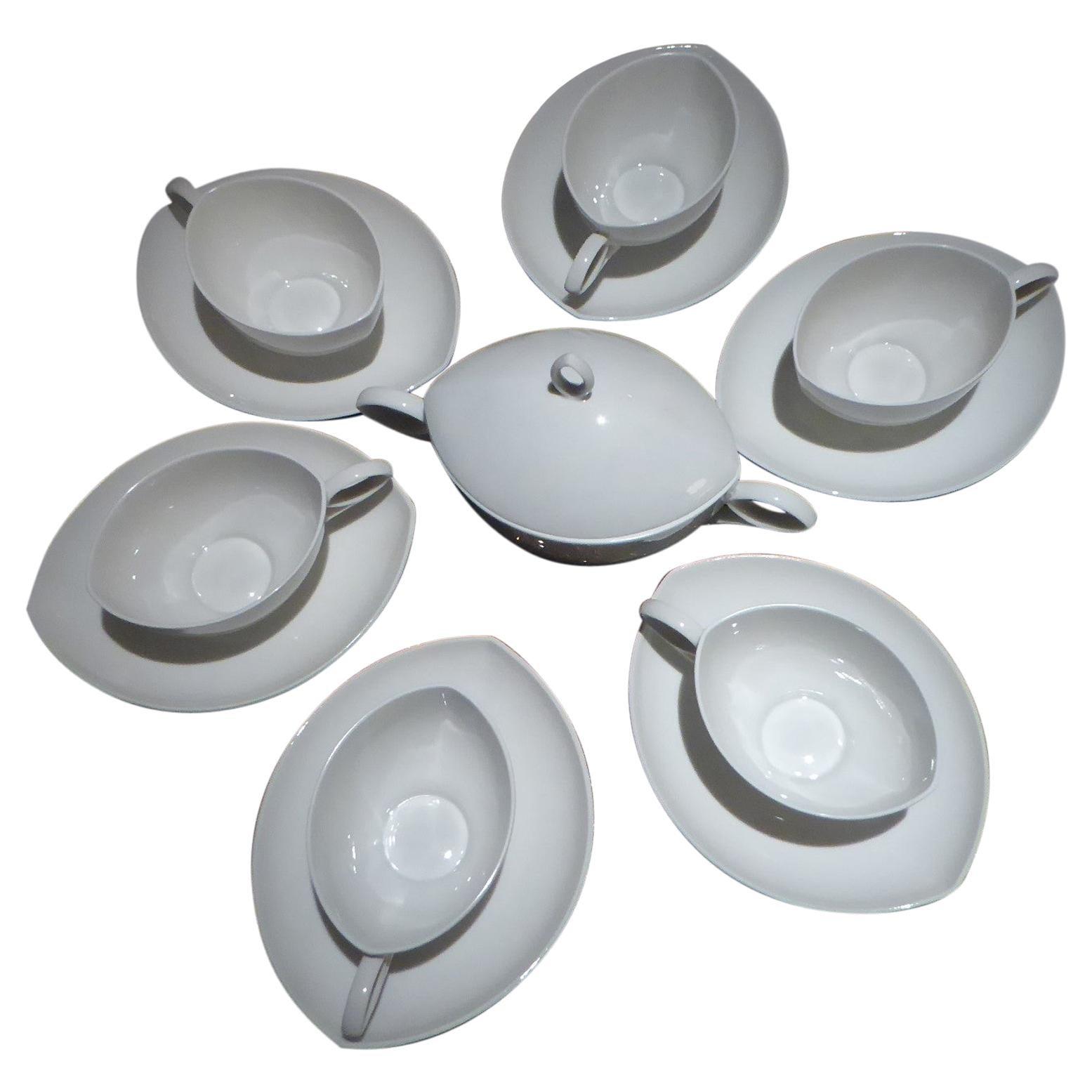 Deco Modern Rosenthal Oval Pattern by Rudolf Lunghard Espresso Moka Coffee Set
