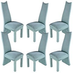 Deco Modern Seafoam Green Microfiber Upholstered High Back Dining Chairs