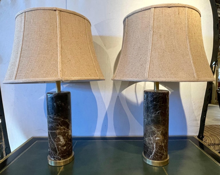 Deco Pair of Brass Base Marble Cylindrical Form Table Lamps with Finials In Good Condition For Sale In Stamford, CT