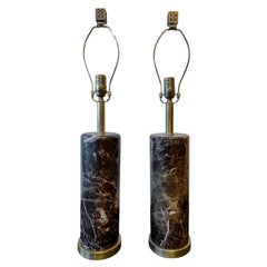 Deco Pair of Brass Base Marble Cylindrical Form Table Lamps with Finials