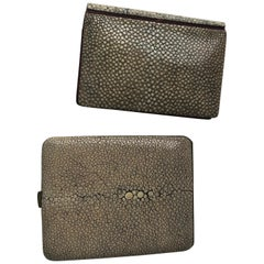 Deco Pale Green Shagreen Cigarette Case and Shagreen Card Case