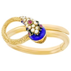 Victorian Enameled Gold Snake Bracelet