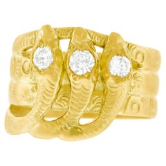 Deco period Triple Snake Ring