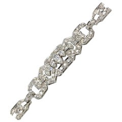Deco Platinum and 18 Karat Diamond Bracelet 4.00 Carat