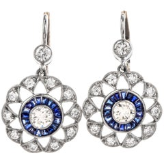 Deco Platinum Diamond and Sapphire Pinwheel Halo Earrings