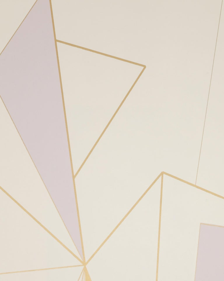 American Deco Prism Screen Printed Metallic Bronze and Lavender Mist Wallpaper For Sale
