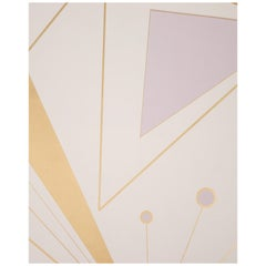 Deco Prism Screen Printed Metallic Bronze and Lavender Mist Wallpaper