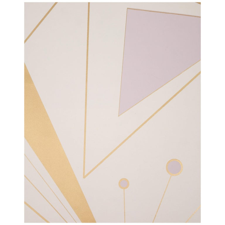 Deco Prism Screen Printed Metallic Bronze and Lavender Mist Wallpaper For Sale