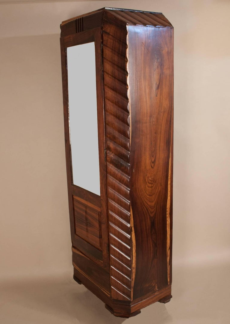 Indian Art Deco Rosewood Wardrobe with Mirror For Sale