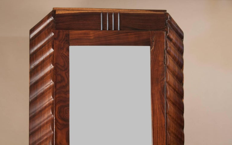 Beveled Art Deco Rosewood Wardrobe with Mirror For Sale