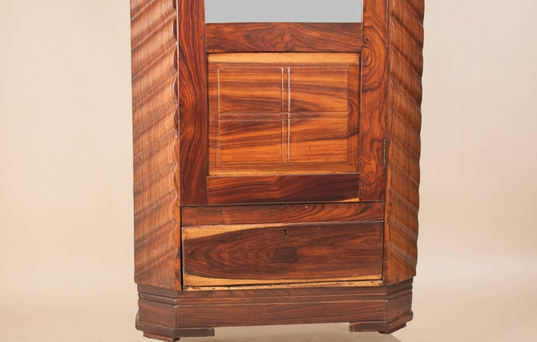 20th Century Art Deco Rosewood Wardrobe with Mirror For Sale