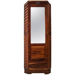 Art Deco Rosewood Wardrobe Cabinet with Mirror