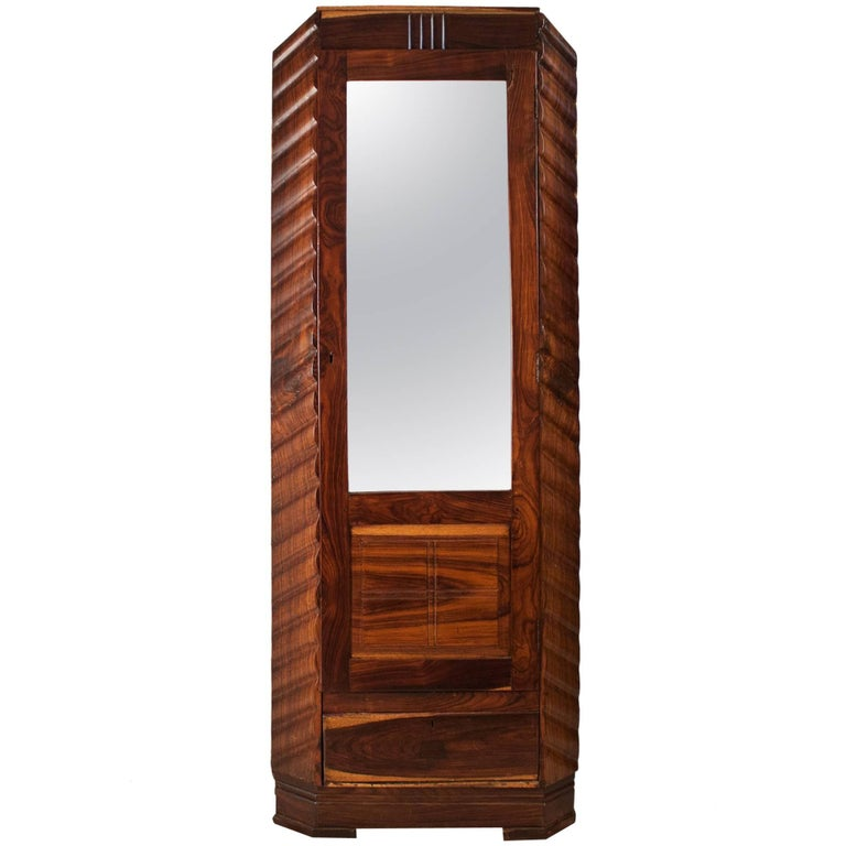 Art Deco Rosewood Wardrobe with Mirror For Sale
