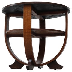 Deco Round Oak Two Tiered Side Table