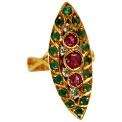 Deco Ruby Emerald Diamond Pagoda Ring 18 Karat