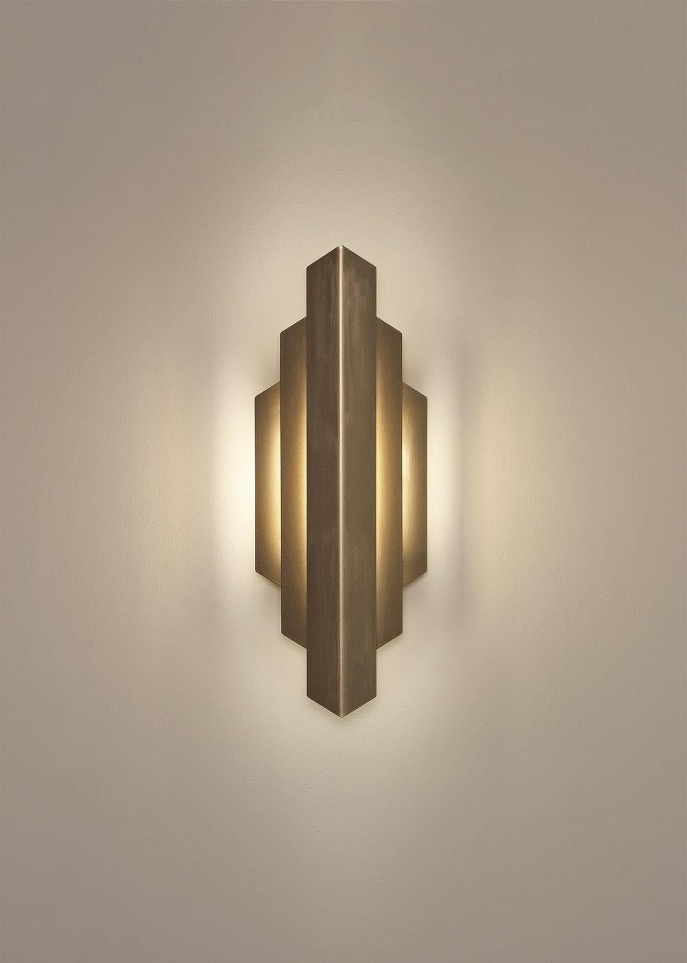 Deco Sconce, Gold Vertical Geometric Modern LED Sconce Light Fixture