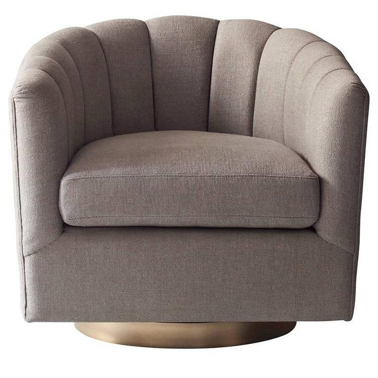 Deco Side Chair by DeMuro Das with Swivel Base in Brass