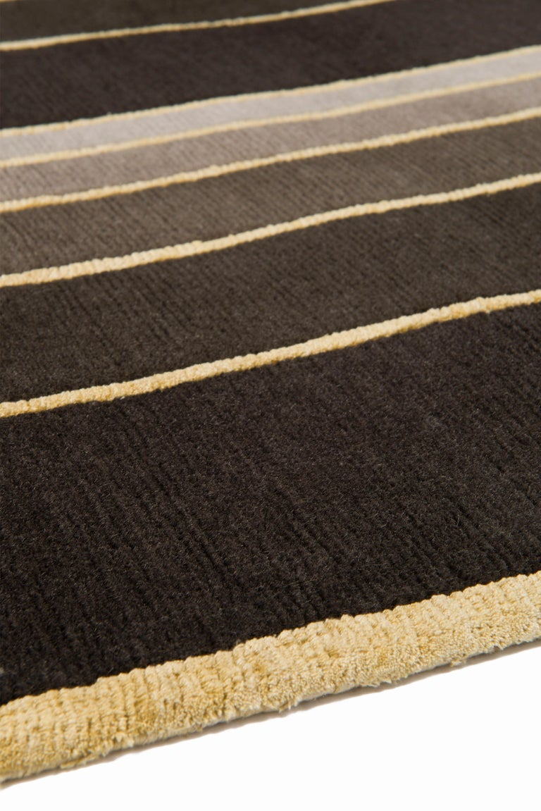 Modern Deco Spiral Hand-Knotted 10x8 Rug in Wool and Silk by Tim Gosling For Sale
