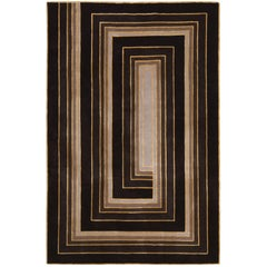 Deco Spiral Hand-Knotted 6x4 Area Rug in Wool and Silk by Tim Gosling