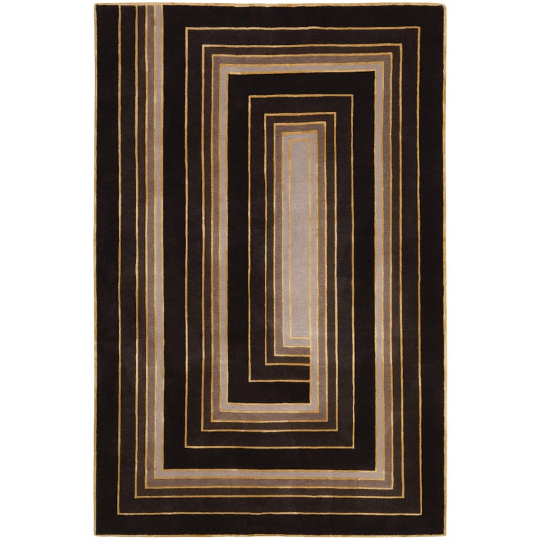 Deco Spiral Hand-Knotted 10x8 Rug in Wool and Silk by Tim Gosling For Sale