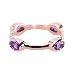 "Deco Style 18 Karats Gold Amethyst ""Violet Wheel"" Fashion Stacking Ring"