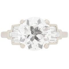 Deco Style 3.05 Carat Old Cut Diamond Engagement Ring