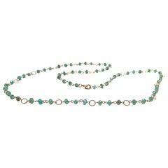 Deco Style 7.5 Karat Emeralds 18 Karat Yellow Gold Twisted Links Beaded Necklace