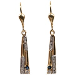 Deco Style Ceylon Sapphire Diamond Dangle Earrings 14 Karat Yellow Gold