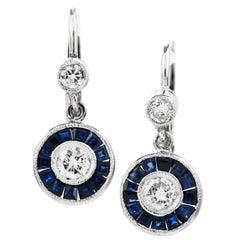 Deco Style Diamond Sapphire Platinum Dangle Earrings