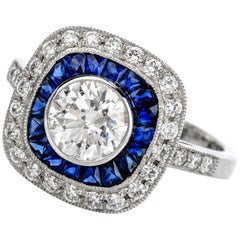 Deco Style Diamond Sapphire Platinum Engagement Ring