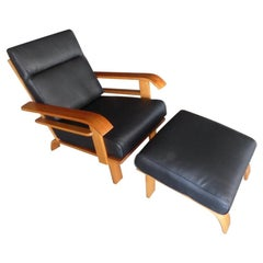 Deco Style Lounge Chair and Ottoman Attributed to Russel Wright for Conant Ball