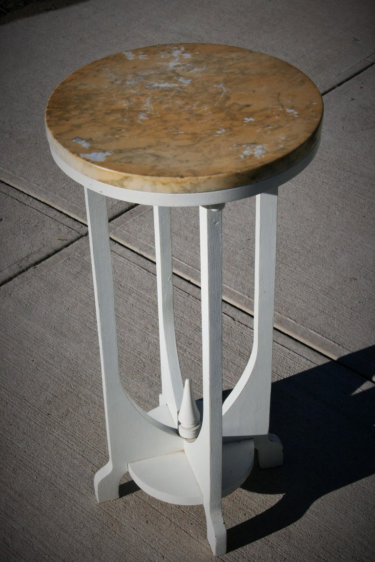 2-337 wood custom made deco style plant stand with marble top. Marble is white (previous owner applied some stain to surface that can be removed).
