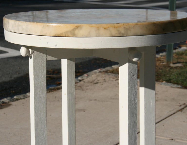 Mid-20th Century Deco Style Marble-Top Wood Plant Stand/Dring Table For Sale