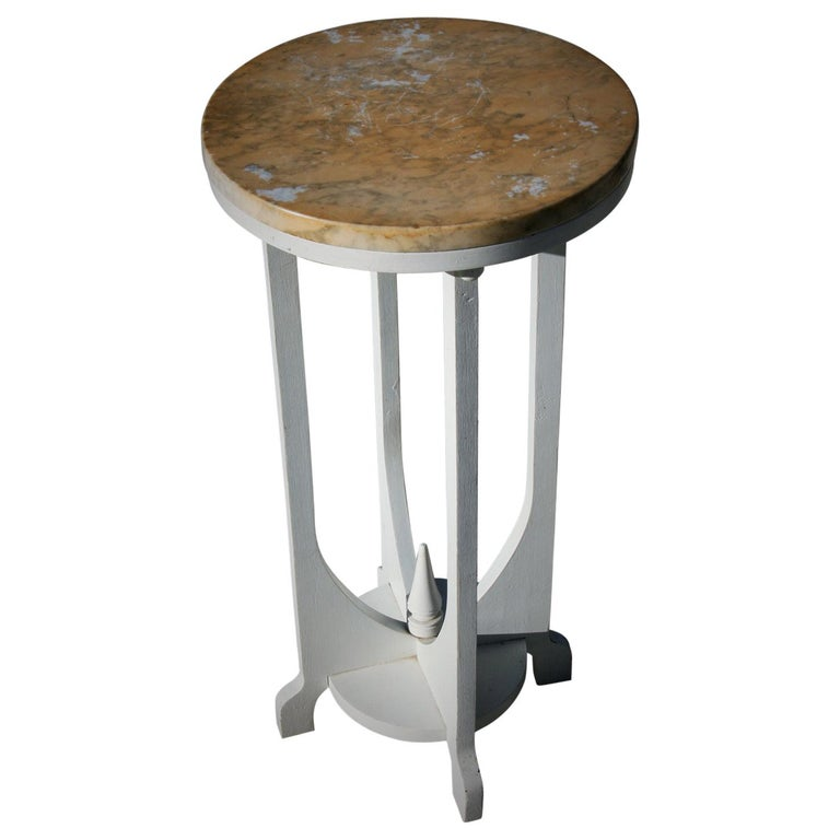 Deco Style Marble-Top Wood Plant Stand/Dring Table For Sale