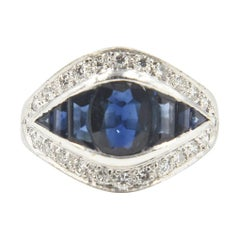Deco Style Sapphire and Diamond White Gold Ring