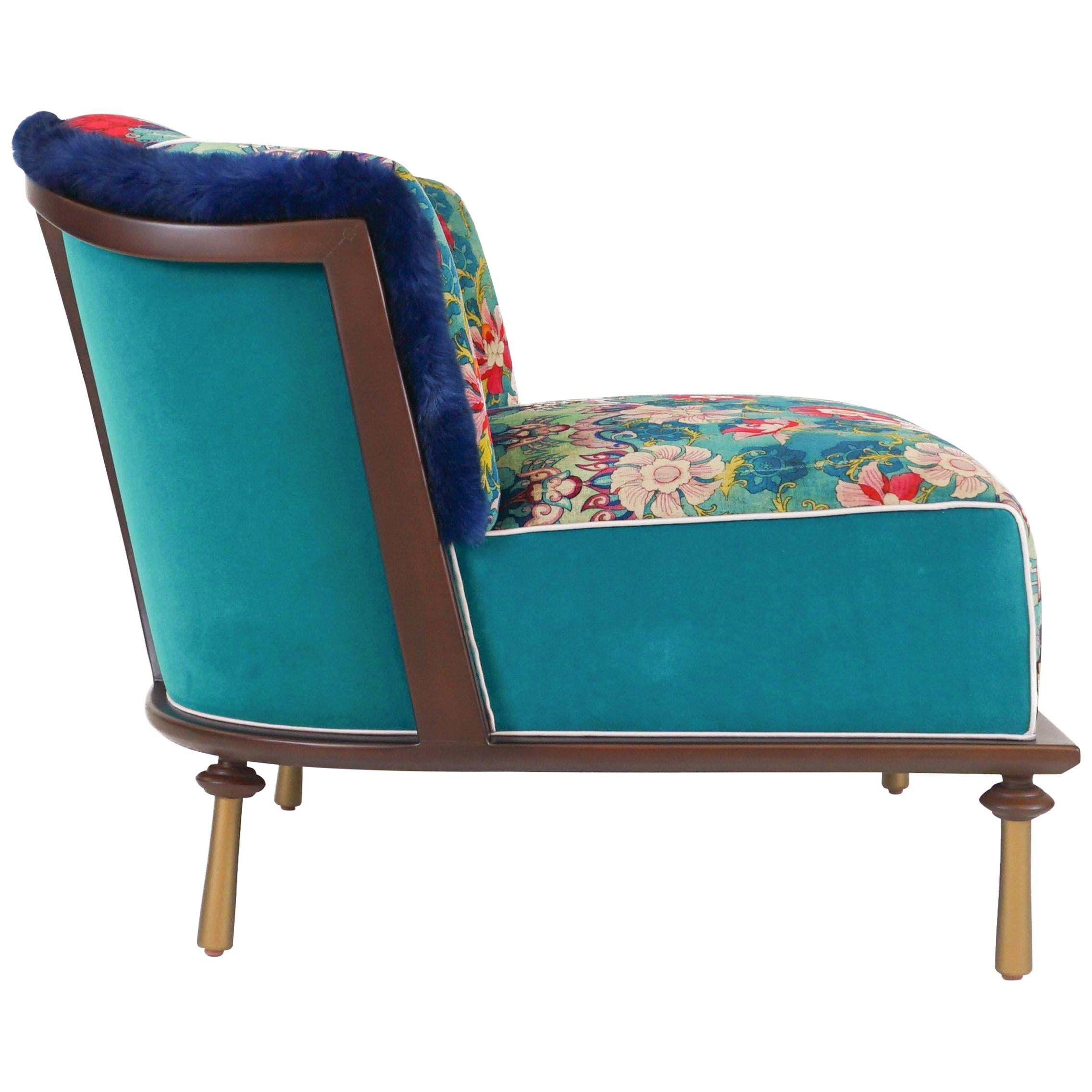 Deco Style Slipper Chair with Wood Detail and Brass Painted Feet 'Customizable'