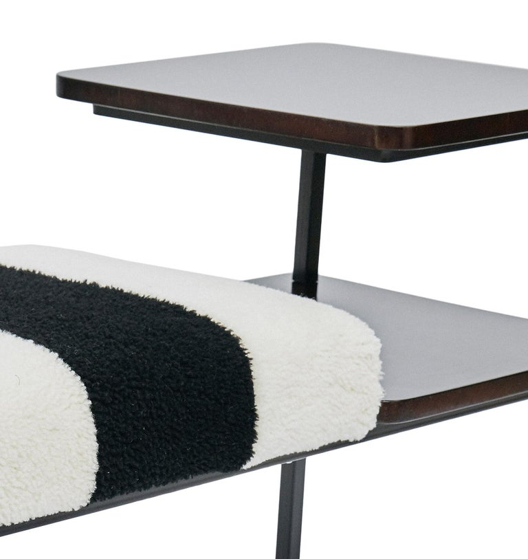 Art Deco Deco Table Seat Lacquered Wood Side Table Combined Sheepskin Stool or Ottoman For Sale