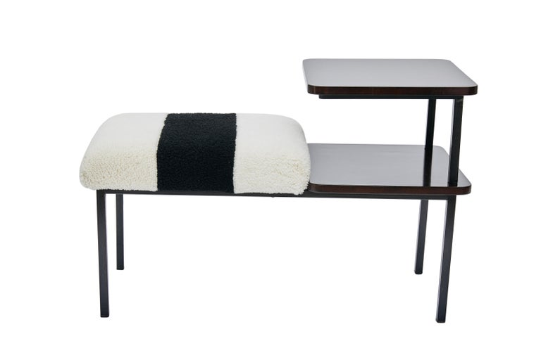 British Deco Table Seat Lacquered Wood Side Table Combined Sheepskin Stool or Ottoman For Sale